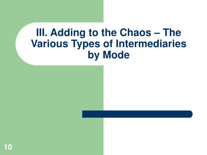 III. Adding to the Chaos – The Various Types of Intermediaries by Mode