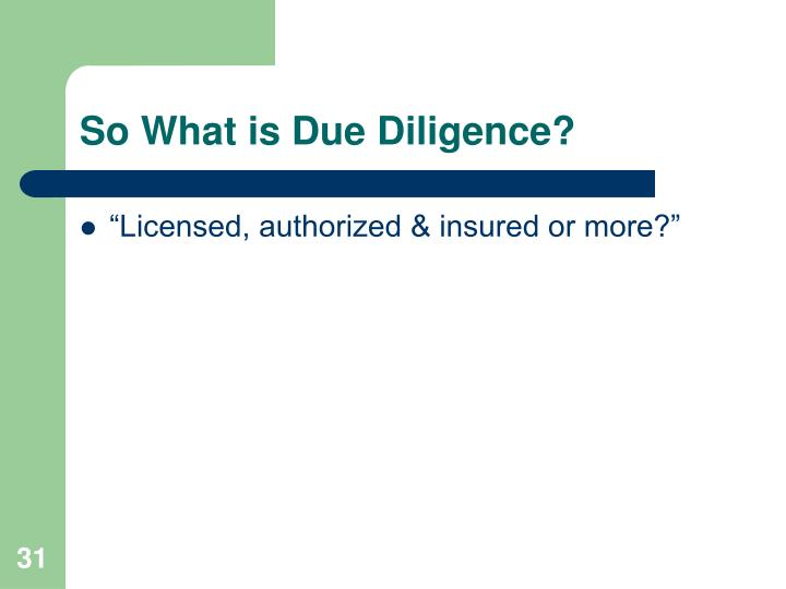 So What is Due Diligence?