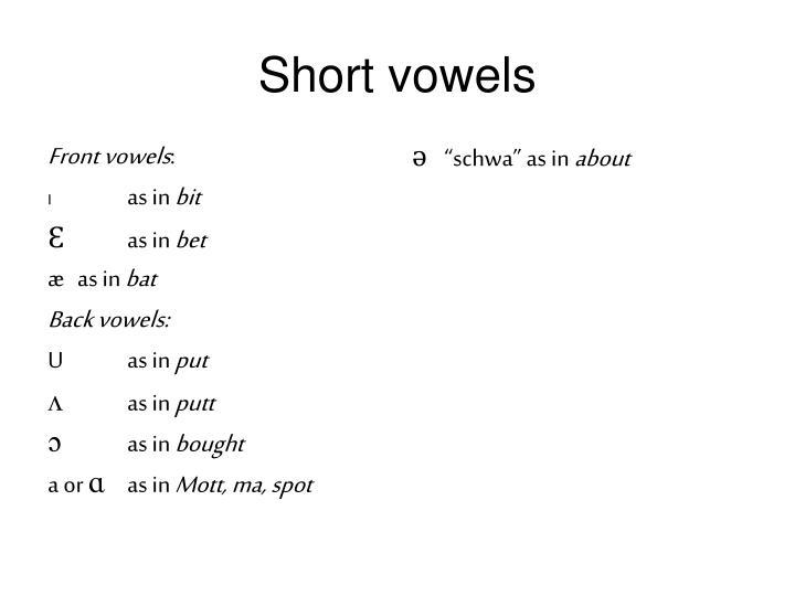 Front vowels