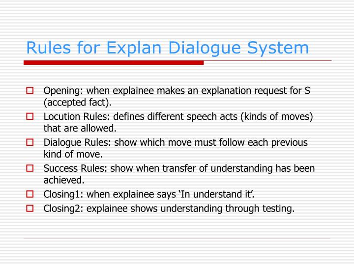 Rules for Explan Dialogue System