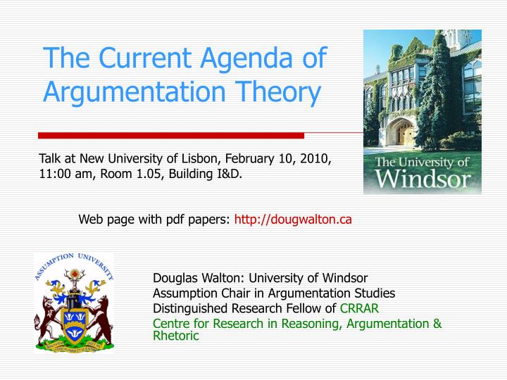 The current agenda of argumentation theory