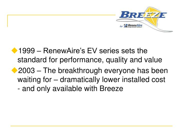 1999 – RenewAire's EV series sets the standard for performance, quality and value