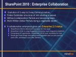 sharepoint 2010 enterprise collaboration