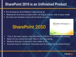 sharepoint 2010 is an unfinished product