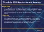 sharepoint 2010 migration vendor selection