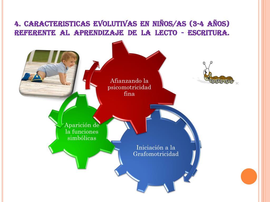 4. CARACTERISTICAS EVOLUTIVAS EN NIÑOS/AS (3-4 AÑOS) REFERENTE AL APRENDIZAJE DE LA LECTO - ESCRITURA.