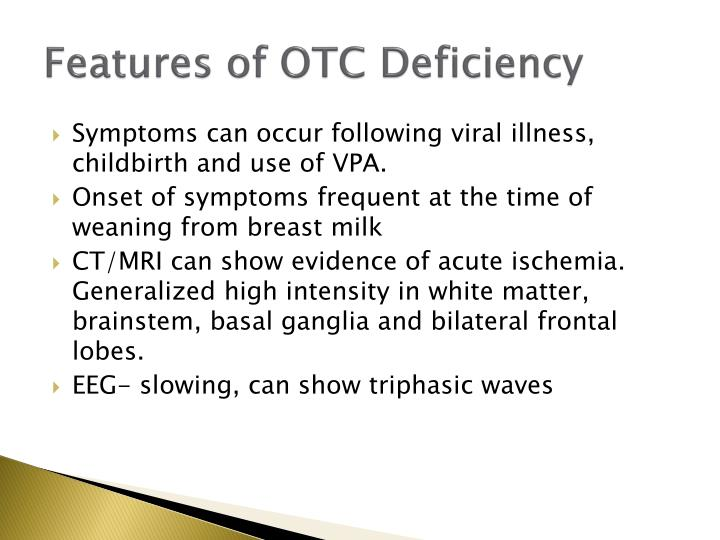 Features of OTC Deficiency