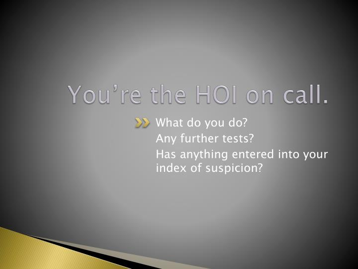 You're the HOI on call.