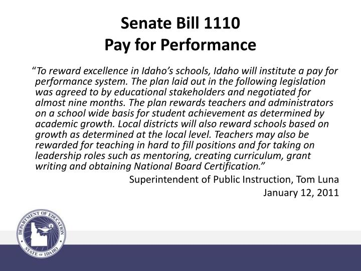 Senate bill 1110 pay for performance