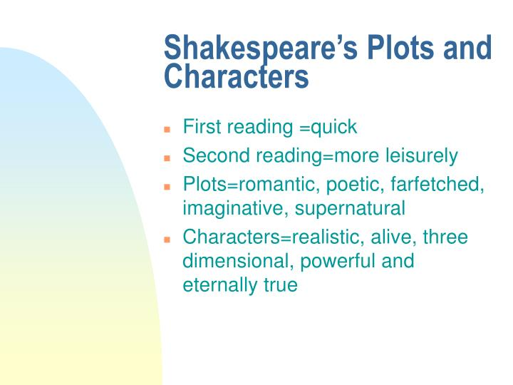 Shakespeare's Plots and Characters