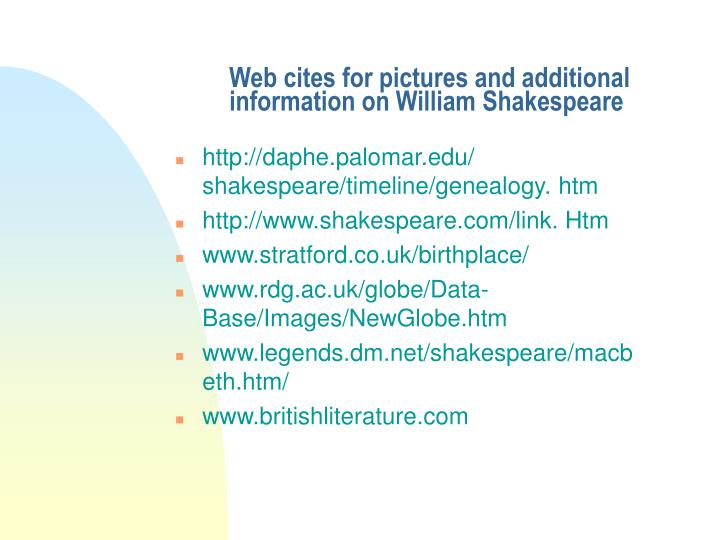 Web cites for pictures and additional information on William Shakespeare