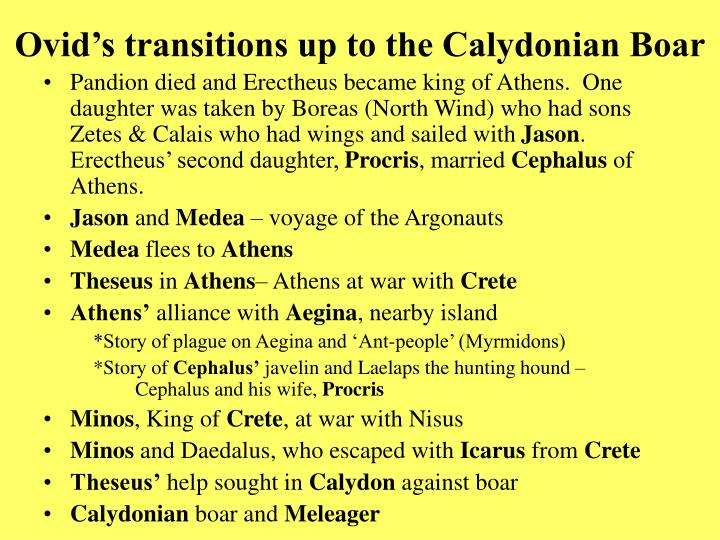 Ovid s transitions up to the calydonian boar