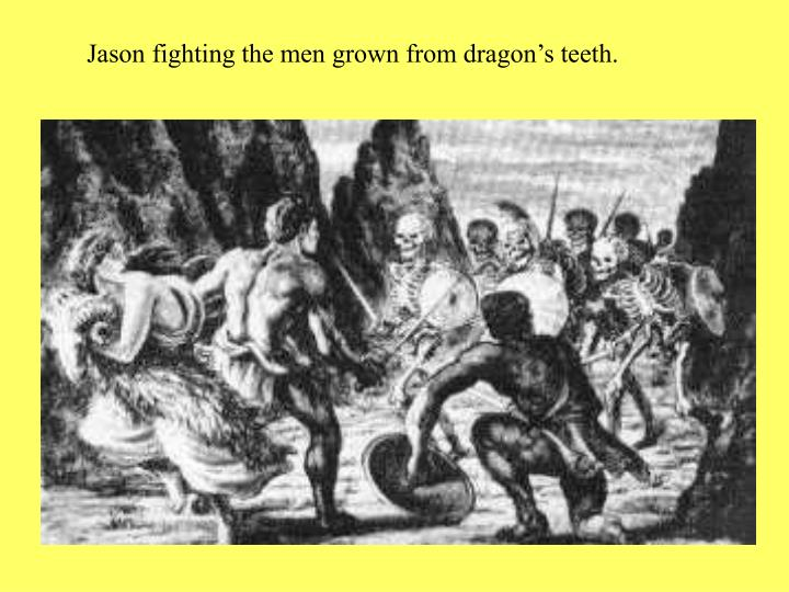 Jason fighting the men grown from dragon's teeth.