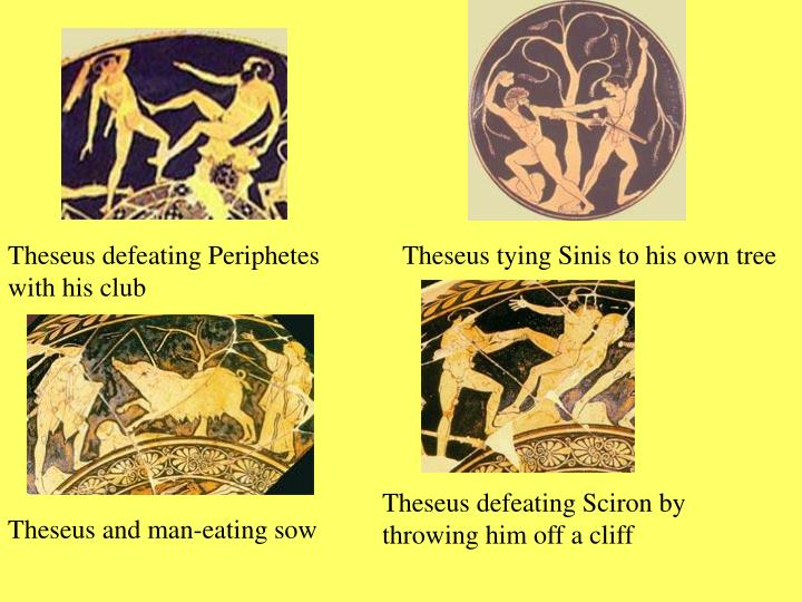Theseus defeating Periphetes with his club