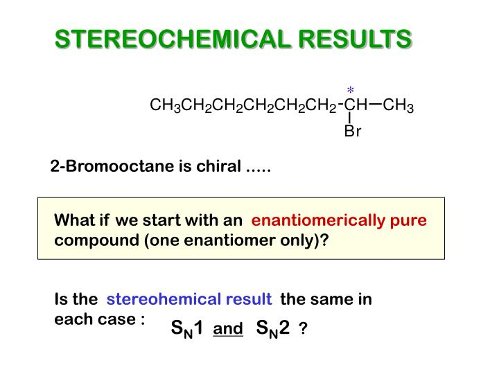 STEREOCHEMICAL RESULTS