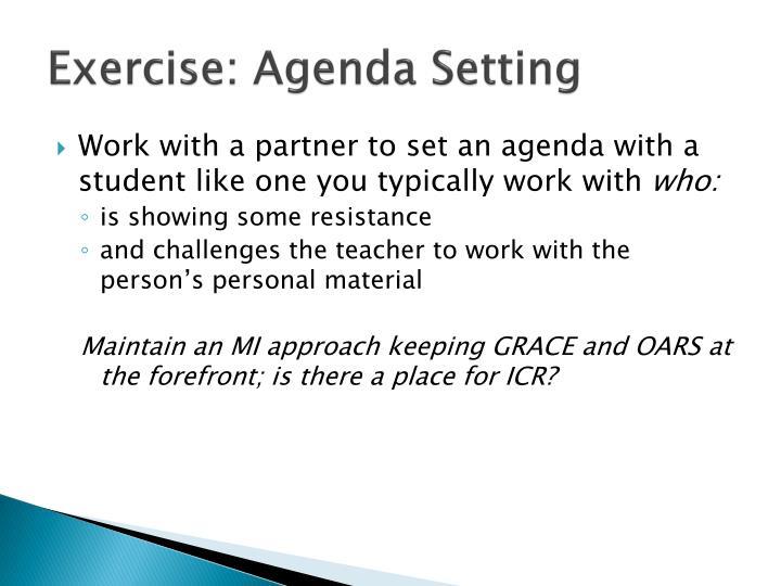 Exercise: Agenda Setting