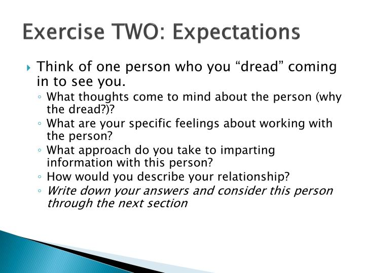 Exercise TWO: Expectations