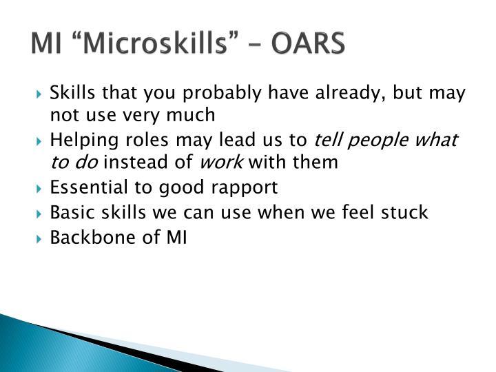 """MI """"Microskills"""" – OARS"""