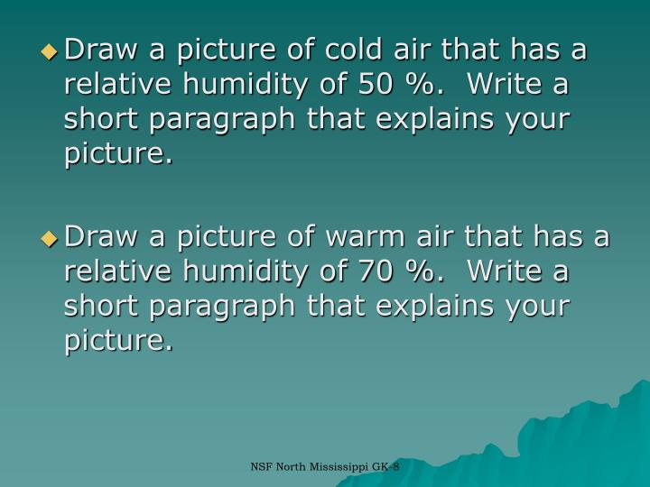 Draw a picture of cold air that has a relative humidity of 50 %. Write a short paragraph that explains your picture.