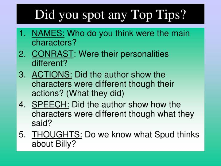 Did you spot any Top Tips?