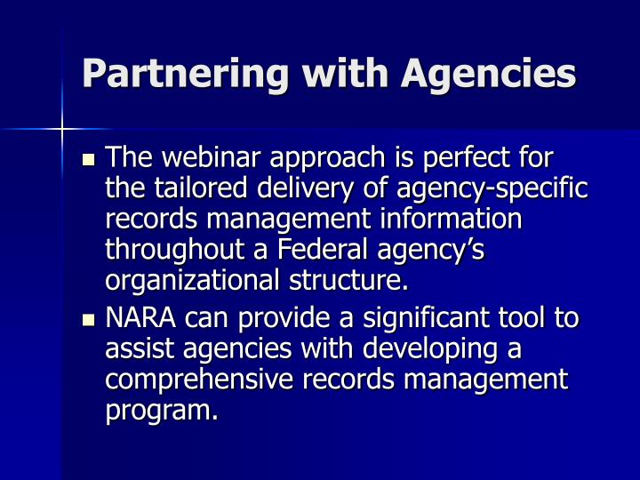 Partnering with Agencies