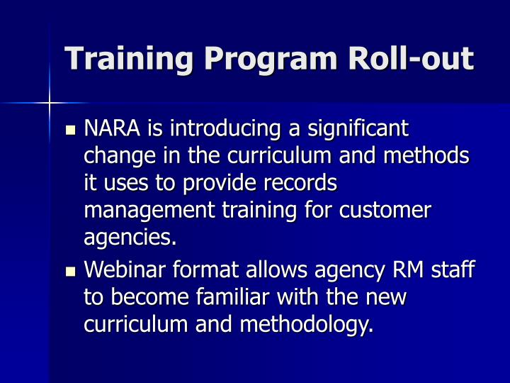 Training Program Roll-out