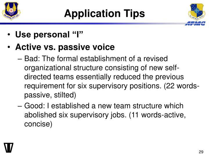 Application Tips