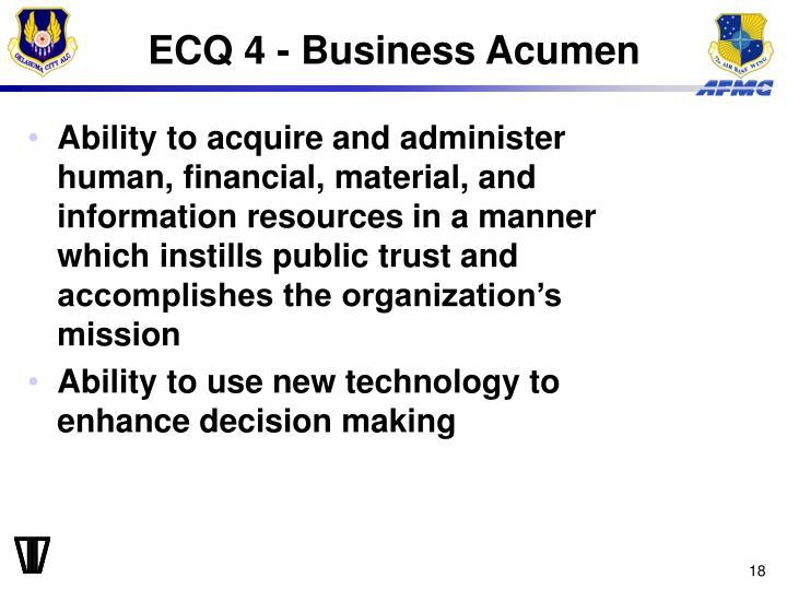 ECQ 4 - Business Acumen