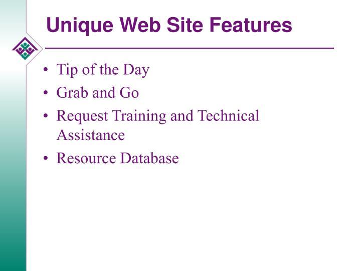 Unique Web Site Features