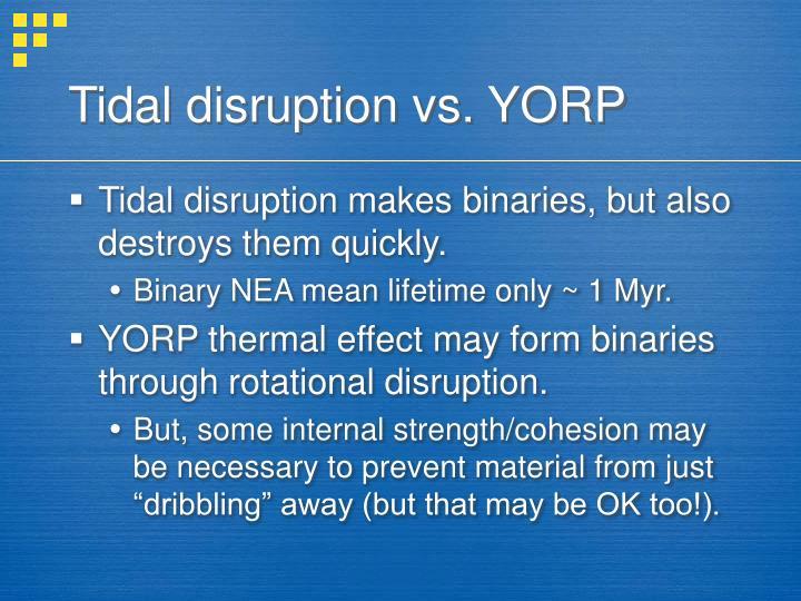 Tidal disruption vs. YORP