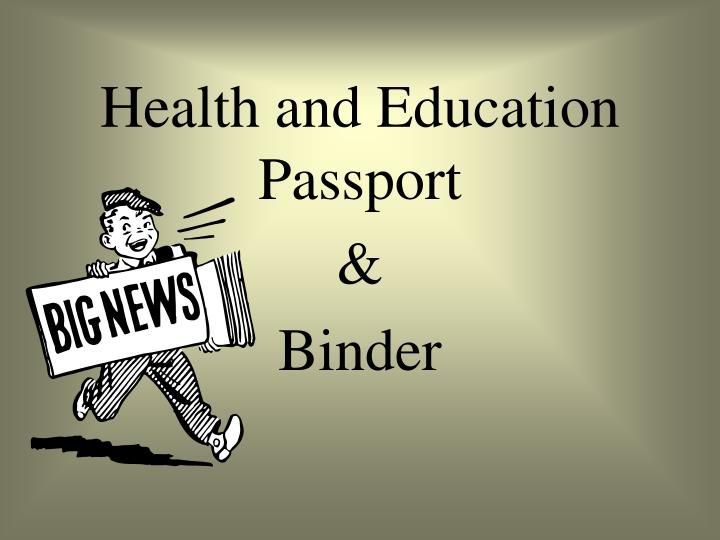 health and education passport n.