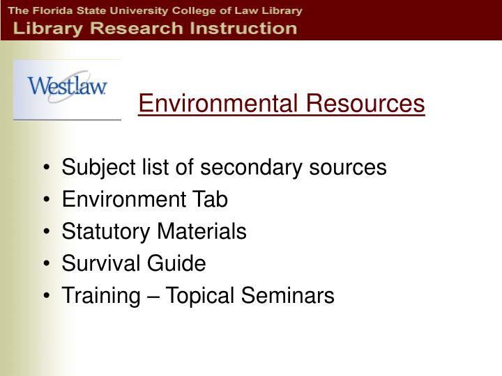Environmental Resources