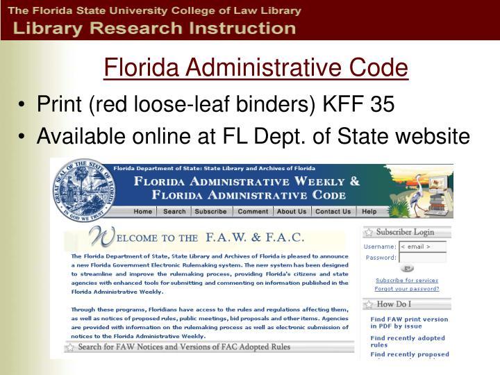 Florida Administrative Code