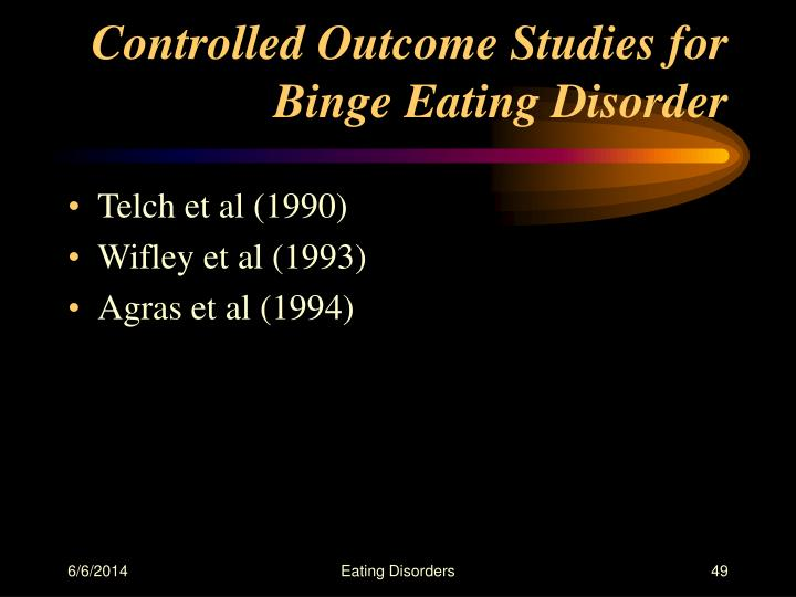 Controlled Outcome Studies for Binge Eating Disorder