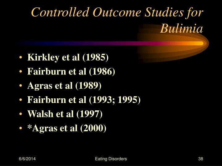 Controlled Outcome Studies for Bulimia