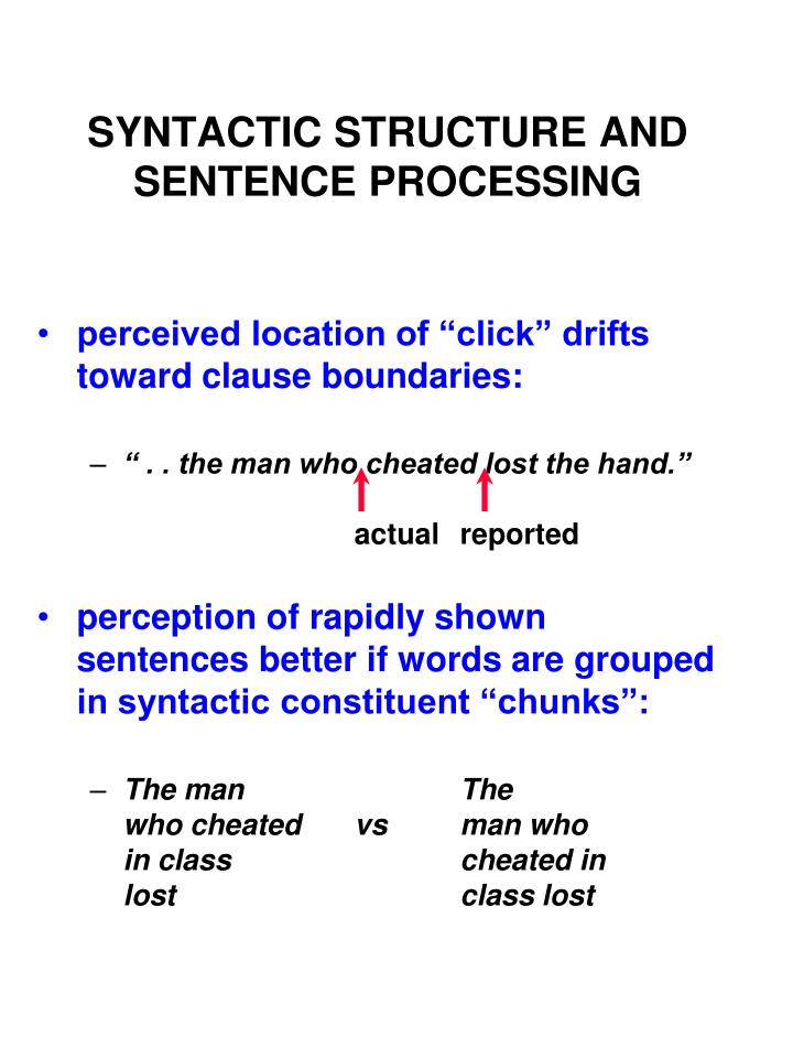 SYNTACTIC STRUCTURE AND