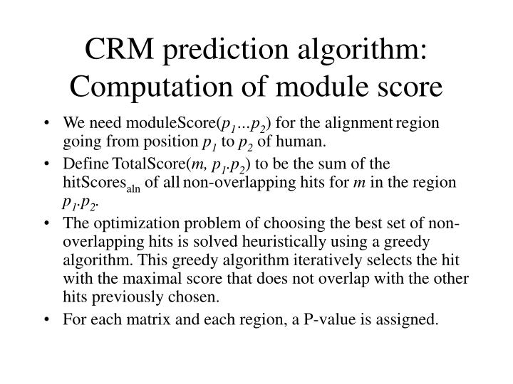 CRM prediction algorithm: Computation of module score