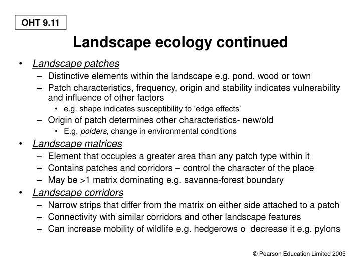 Landscape ecology continued