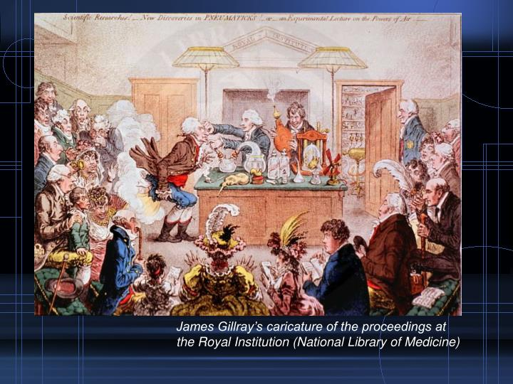James Gillray's caricature of the proceedings at the Royal Institution (National Library of Medicine)