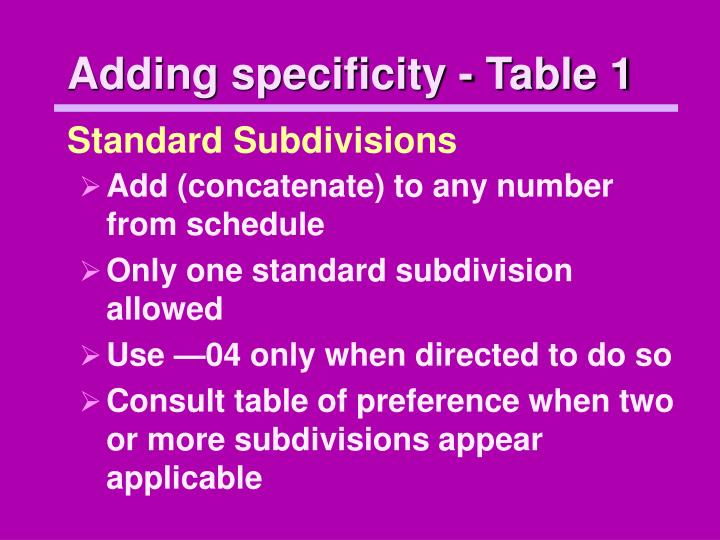 Adding specificity - Table 1