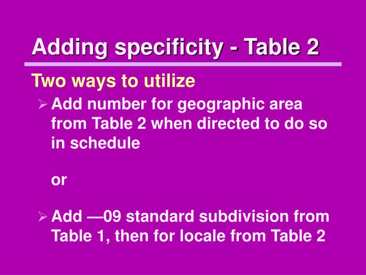 Adding specificity - Table 2