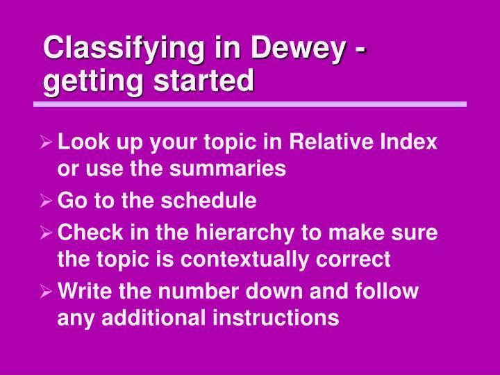 Classifying in Dewey - getting started