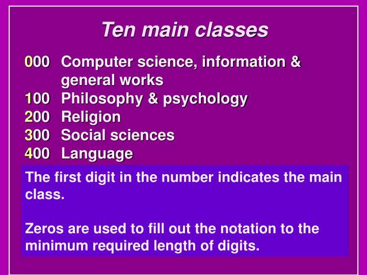 Ten main classes