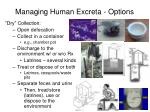 managing human excreta options