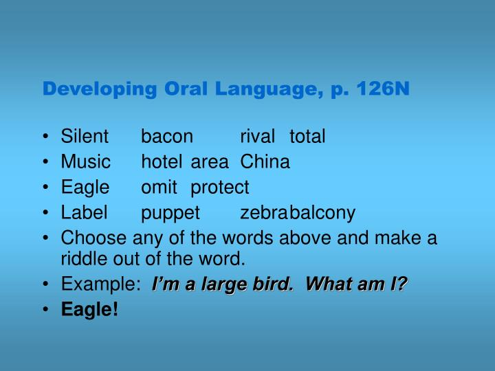 Developing Oral Language, p. 126N