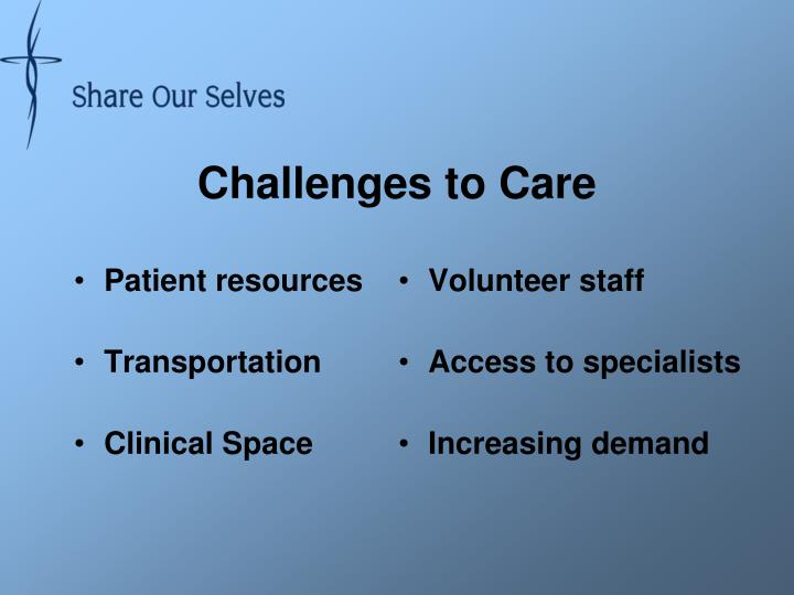 Challenges to Care