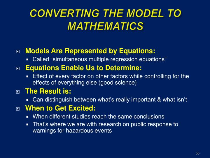 CONVERTING THE MODEL TO MATHEMATICS