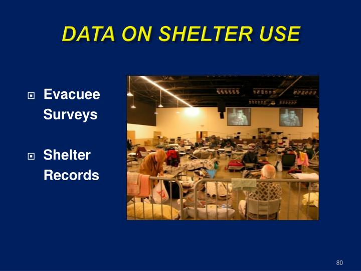 DATA ON SHELTER USE