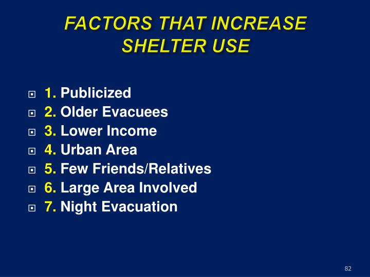 FACTORS THAT INCREASE SHELTER USE