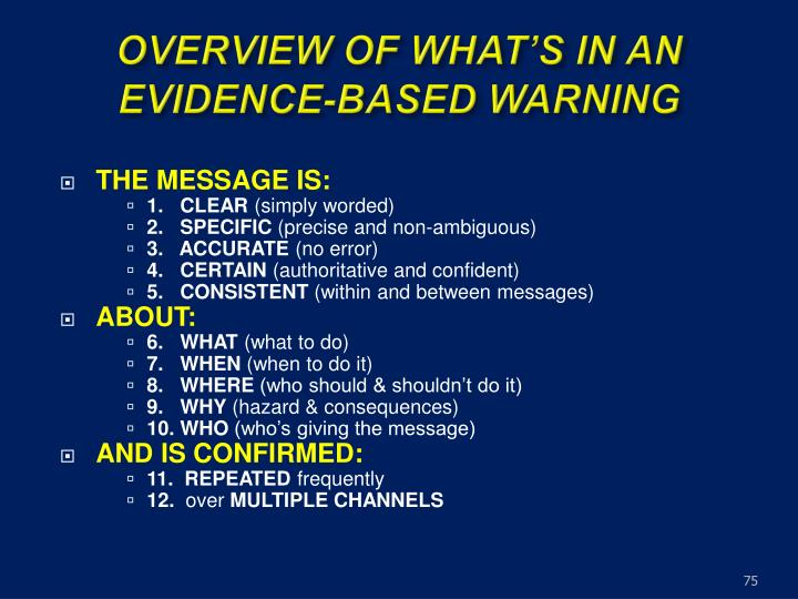OVERVIEW OF WHAT'S IN AN EVIDENCE-BASED WARNING